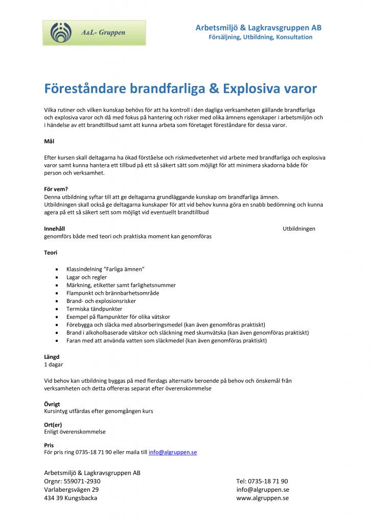 Föreståndare Brandfarliga & explosiva varor