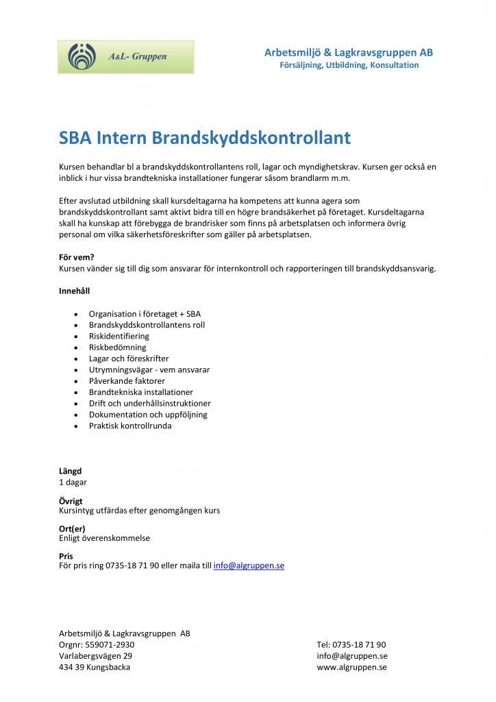 SBA Intern Brandskyddskontrollant