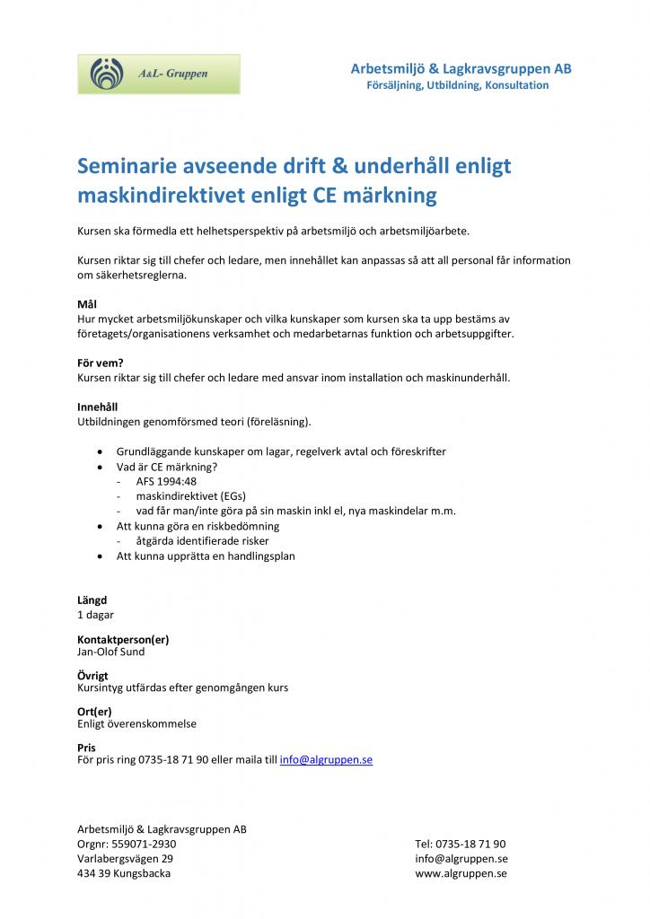 Seminarie avseende drift _ underhåll enligt maskindirektivet enligt CE märkning