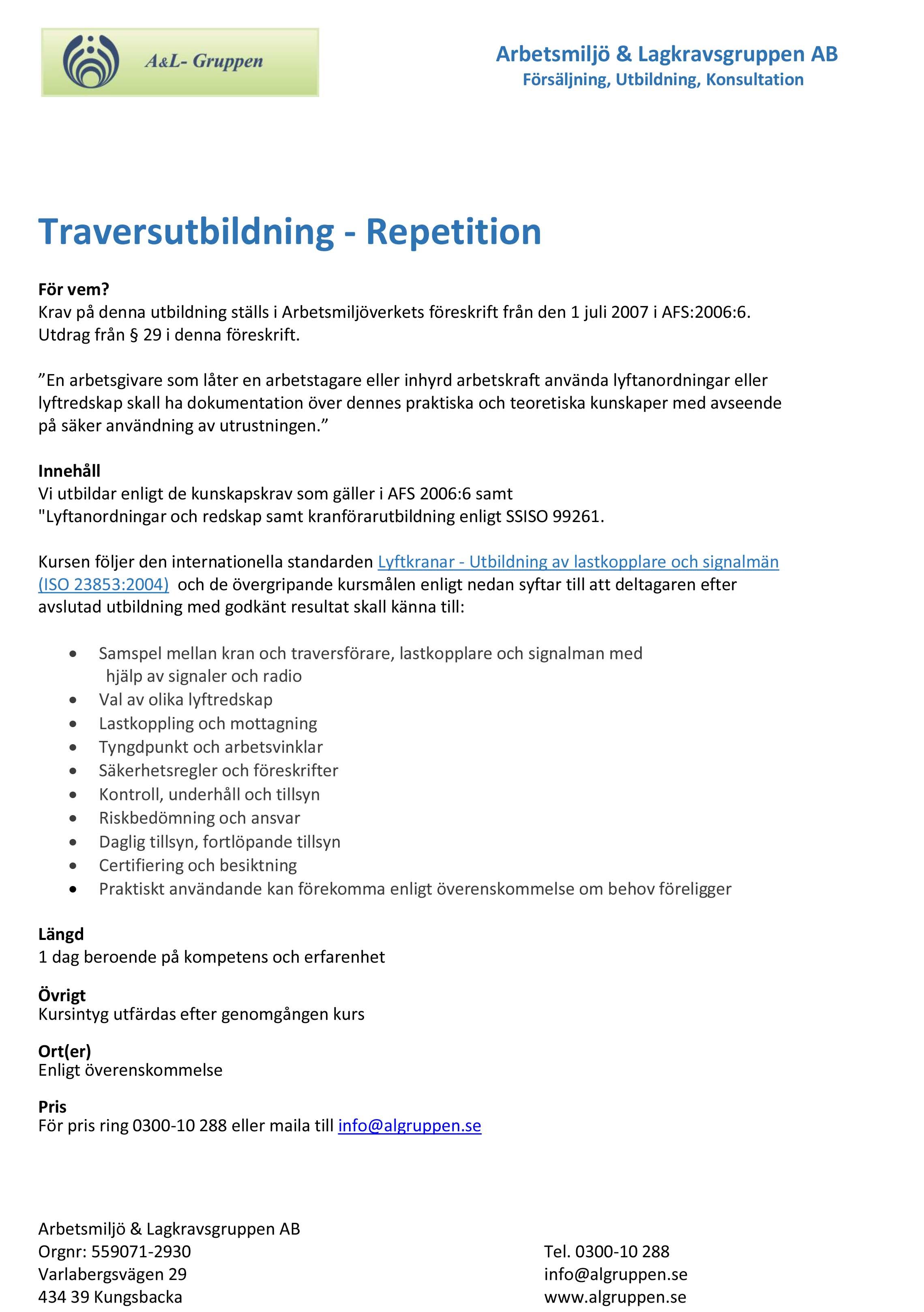 Traversutbildning-Repetition
